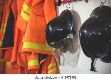 Fire suit and helmet for firefighters to wear .