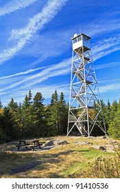 The Fire tower atop Balsam Lake Mountain, one of the highest viewpoints in the Catskills Mountains of New York