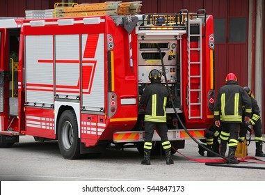 fire truck in an emergency and active team