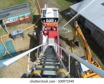 fire truck ladder looking down