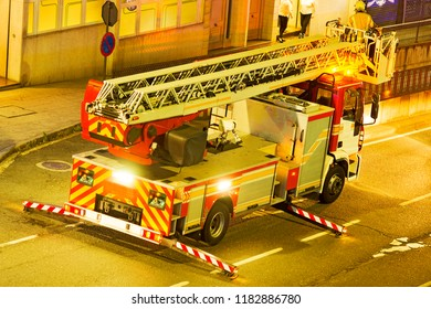fire truck in street city at night