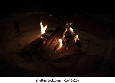Fire of a warm fireplace