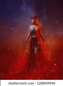 a fire warrior stands in a flame, a gorgeous young slim girl with blue long hair, dressed in an oriental skirt and red top, an open belly and shoulders, decorated with a necklace with a fiery stone