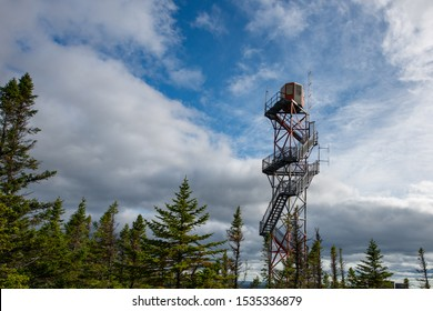 Fire watch tower high in the sky with tall trees all around. The building has many steps leading up to the tower structure. The small building is red and white in color. The steps are in layers.