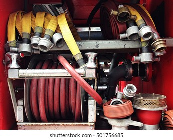 Fire water hose connector on board and other equipment in a firetruck