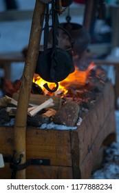 Fire in winter market