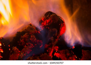 fire in the wood burning stove