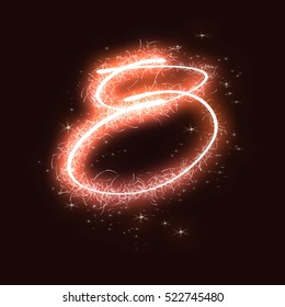 Fire work number 8, spark fire work number for happy new year and happy Christmas day,bengali sparkles number
