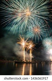 Fire works on the river Rhine in Basel Switzerland