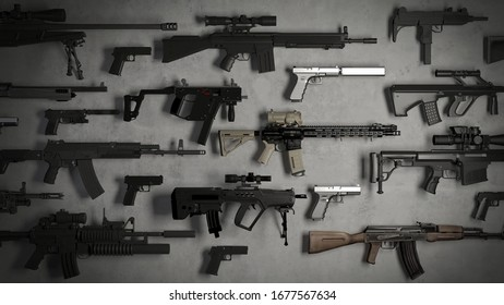 firearms assorted of different types