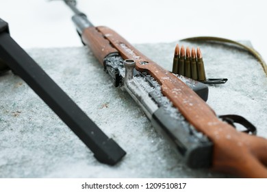 firearms close-up in winter