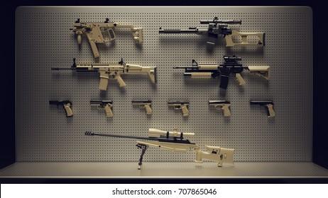 Firearms Display / 3d Illustration / 3d Rendering