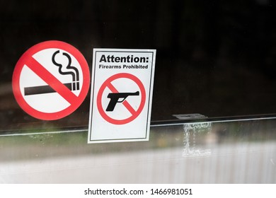 Firearms prohibited and no smoke signal.