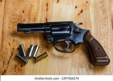 Firearms Revolver,Old revolver, .38 gun and ammunition,conceal gun with bullet home protection concept,handguns.