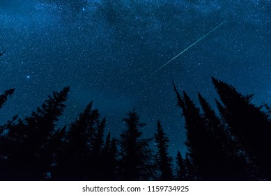 Fireball Meteor with stars and trees.
