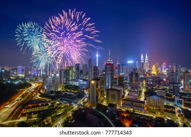 Firecracker over Kuala Lumpur city on new year countdown