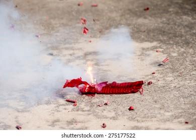 Firecrackers,Burnt firecrackers lying on the street