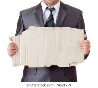 Fired businessman with messy cardboard frame. Isolated on white