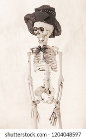 Fired skeleton with hat and bow-tie on white background with space for text.