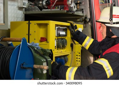 Firefighter in action and used the electricity generator