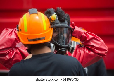 firefighter with anti biochemical mask