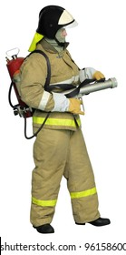 Firefighter with autonomous Impulse fire extinguishing system. Isolated on white background