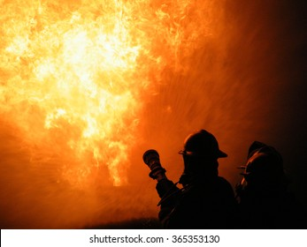 Firefighter Battling Blaze