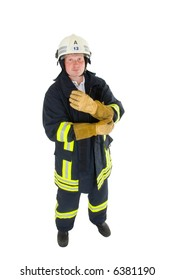 firefighter before white background