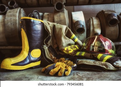 Firefighter boots and fire hoses
