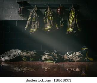Firefighter clothes in dark firestation