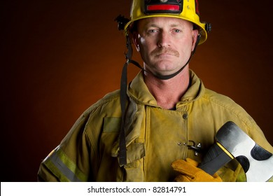 Firefighter fireman man holding axe