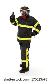 Firefighter with mask and  protective suit  isolated on white background