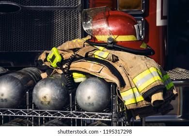firefighter oxygen tank with helmet