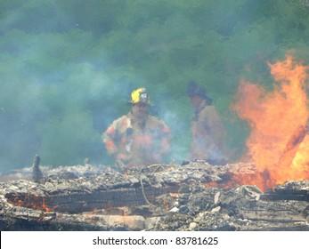 firefighter thru smoke and haze