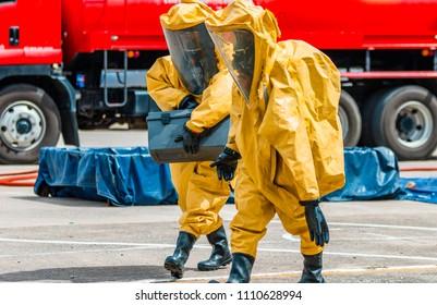 Firefighter training protect Chemical leak , fireman
