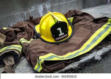 Firefighter uniform with yellow and black helmet