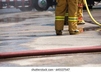 Firefighter working out in the arena.
