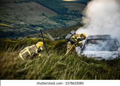 Firefighters intervene burning car in Dublin, Ireland