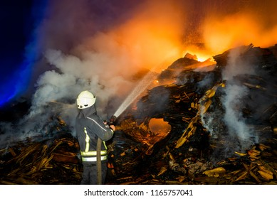 firefighters at night incident