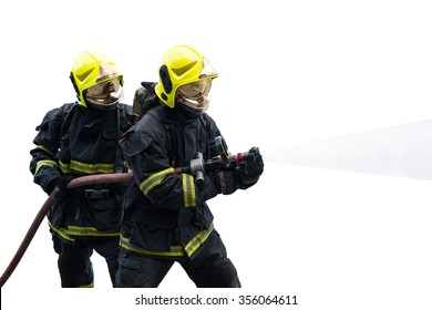 firefighters spray water on white background