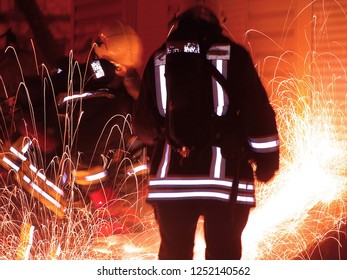 firefighters team at work