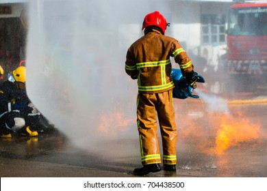 Firefighters training in action
