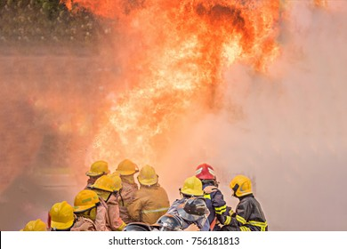Firefighters training, Annual training in the company. training those employees in fighting the fire in many situations