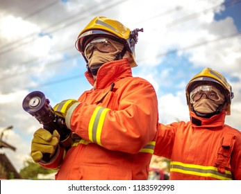 Firefighters working as a team in emergency situations.