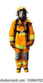 Firefighters in yellow fire-proof uniform over white background isolated.