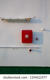 Firefighting equipment at the deck of a ship, hoses and valves