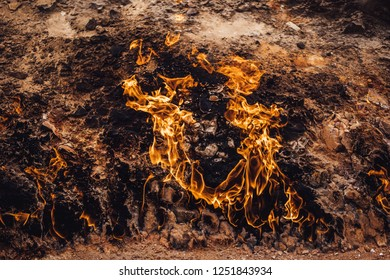 Fireland, Flames coming out of the ground, Yanardag, naturally burning mountain in Azerbaijan
