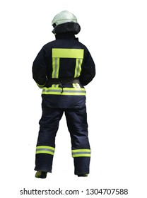 fireman in equipment stands with his back to the camera. Isolated on white