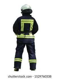 fireman in equipment stands with his back to the camera. Isolated on white. inscription- fireman