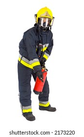 fireman extinguishing the fire with white bottom